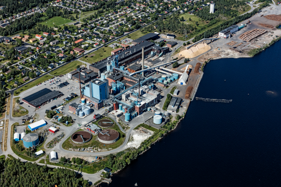 Aerial photo of the SCA Obbola plant